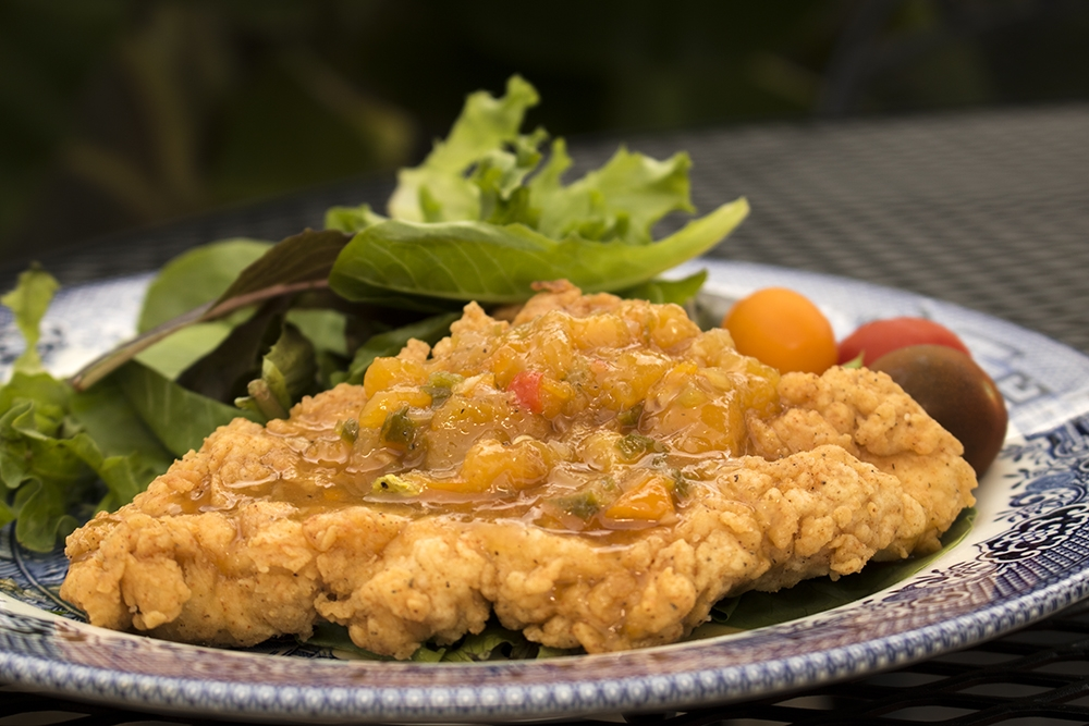 Fried Chicken with Peach Apricot Sauce
