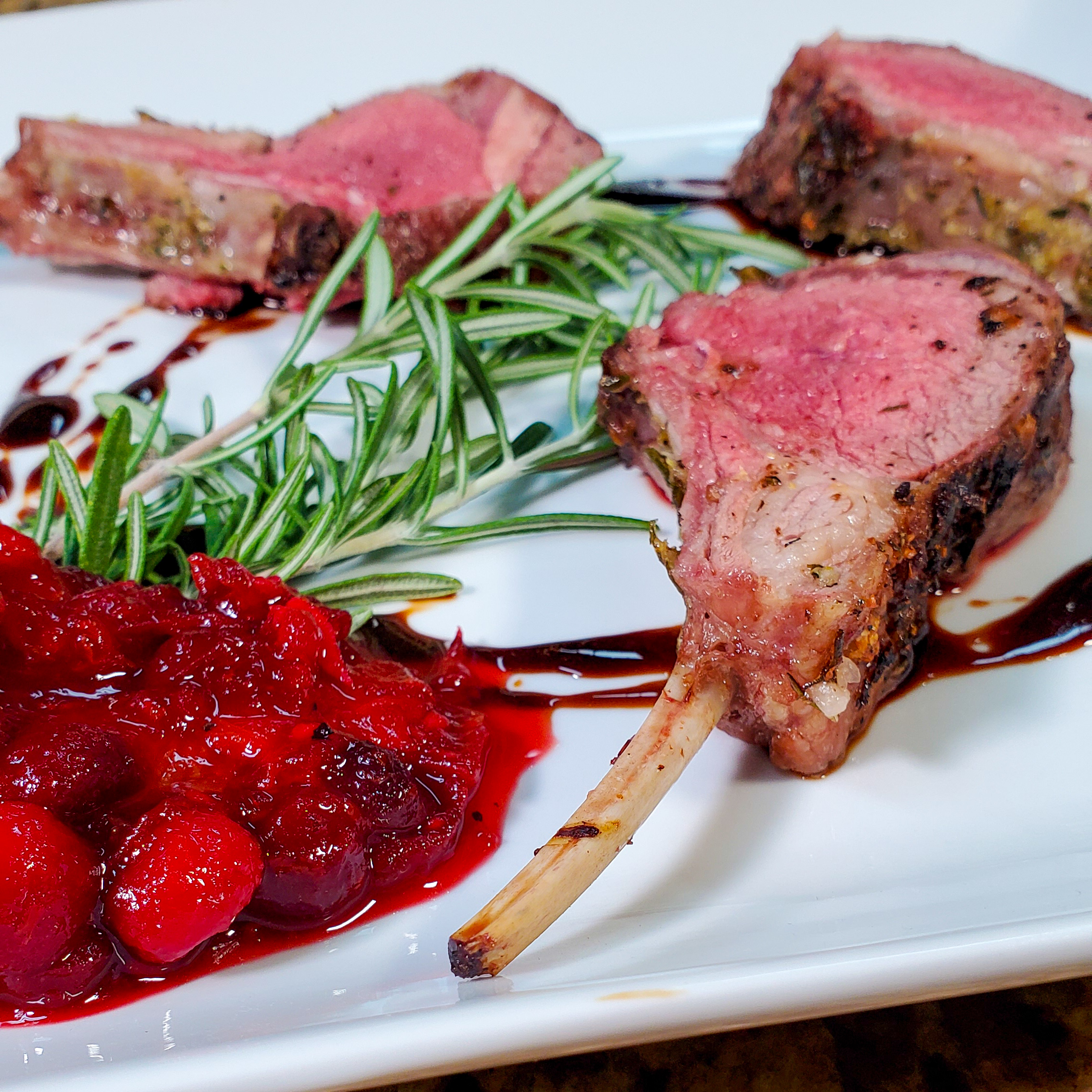 Rosemary Scented Rack of Lamb with a Cranberry and Orange Chutney