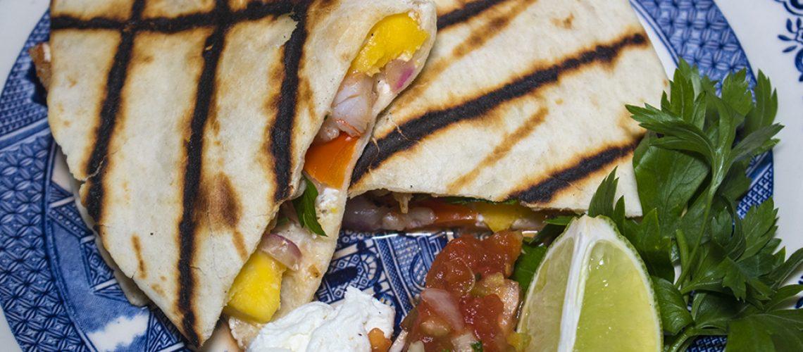Beach Town Shrimp and Mango Quesadillas